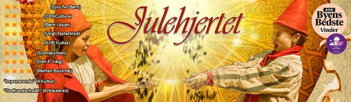 """Plakat for Eventyrteatrets julemusical """"Julehjertet"""", 2017 Glassalen i Tivoli"""