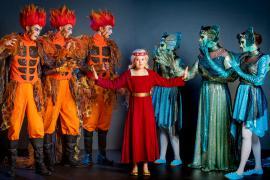 Fra Eventyrteatrets familiemusical Skovens Dronning, oktober 2019, Glassalen i Tivoli - Eventyrteatret i Glassalen - Prinsesse Margrete, salamandere og nymfer - teater, børneteater, musical